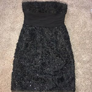 Monique Lhuillier Black Dress with Tulle Overlay
